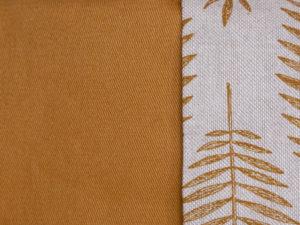 Aperçu tissu du coussin de méditation et coussin de yoga fait main en France en coton épais jaune moutarde