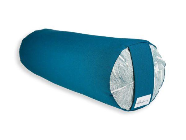 Bolster bleu paon yin yoga artisanal